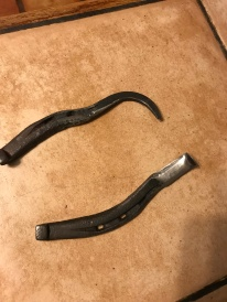 Hoof pick and hoof knife forged from a horseshoe