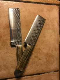 Custom order, matched pair of knives forged from farrier's rasps with elk scales