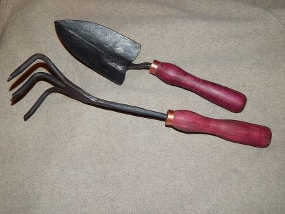 Garden trowel and cultivator with hand turned purpleheart handles and copper ferrule
