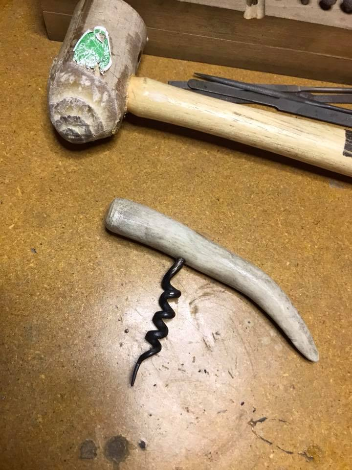 Forged corkscrew with deer antler handle