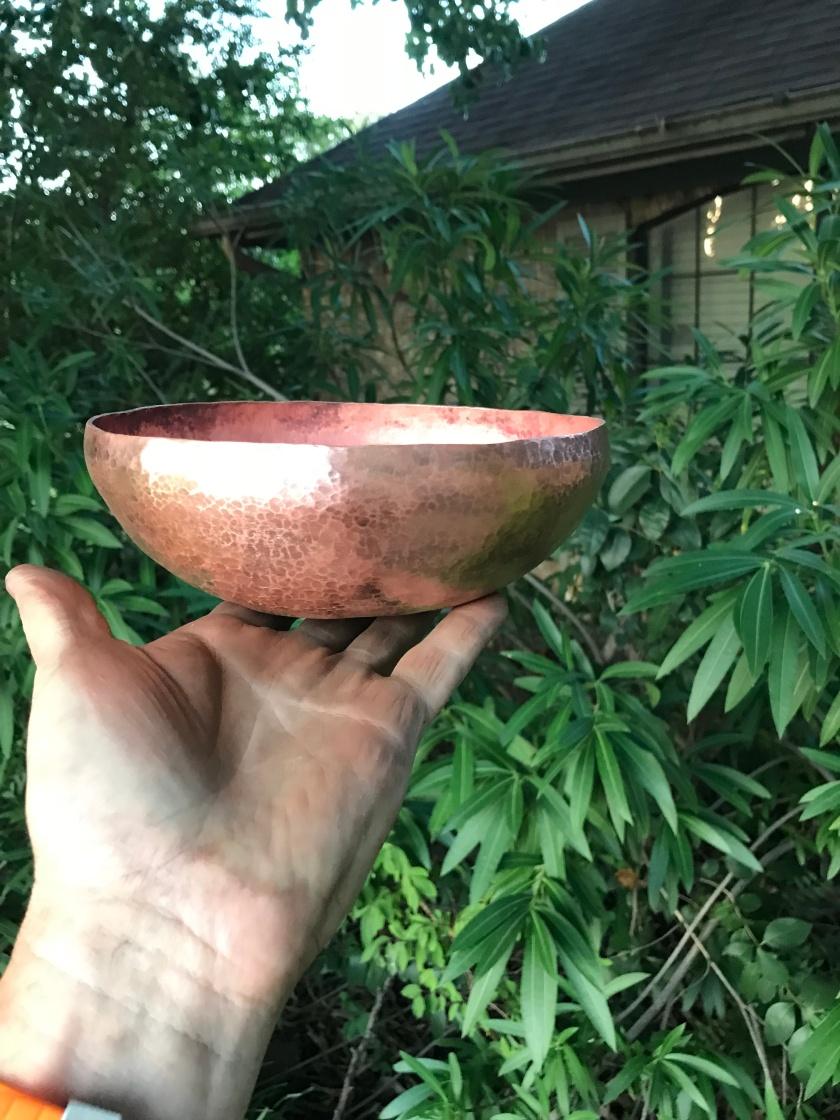 """9"""" hammered copper bowl"""