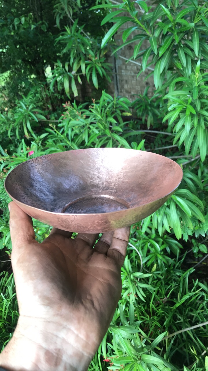 "9"" footed copper bowl"